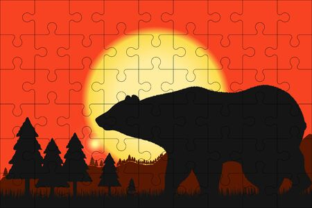 Puzzles template with rectangle grid and silhouette of a bear at sunset. Jigsaw puzzle 9x6 size with 54 pieces with bear and nature illustration. Template for mosaic background. Vector.