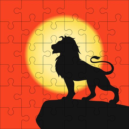 Puzzles template with square grid with illustration of lion on a rock. Jigsaw puzzle 6x6 size - 36 pieces. Mosaic background with join details.