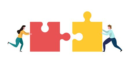 Teamwork men and women who assemble the puzzle. Concept of business team work. Cooperation and partnership metaphor with jigsaw puzzle piece. Illusztráció