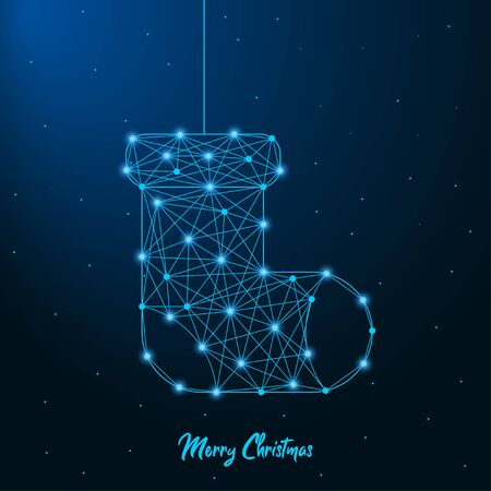 Merry Christmas and New Year design with low poly Christmas sock. Holiday card or banner made by points and lines, polygonal wire frame mesh. Illusztráció