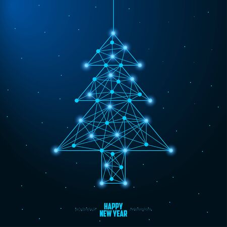 Merry Christmas and New Year design with low poly Christmas tree. Holiday card or banner made by points and lines, polygonal wireframe mesh. Illusztráció