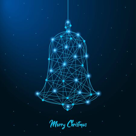 Merry Christmas and New Year design with low poly Christmas bell. Holiday card or banner made by points and lines, polygonal wireframe mesh.