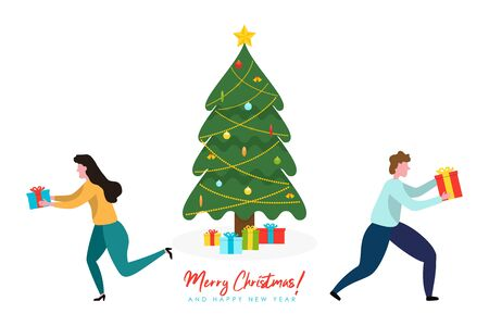 Merry Christmas and Happy New Year illustrations with decorated Christmas tree and people with gift box. Holiday poster in flat design. Illusztráció