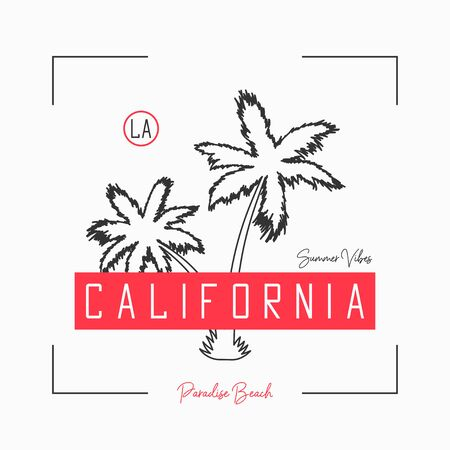 California t shirt design with slogan and hand drawn palm tree. Typography graphics for t-shirt and apparel with tropical palm and fashion red tape. Illusztráció