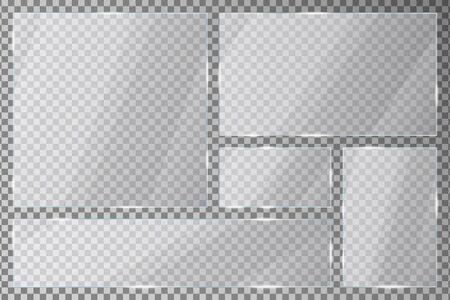 Lastre di vetro incastonate su sfondo trasparente. Lastre acriliche con bagliori e riflessi di luce in forme rettangolari e quadrate.
