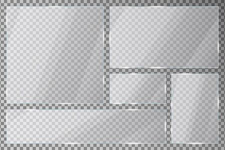 Glass plates set on transparent background. Acrylic plates with gleams and light reflections in rectangle and square shapes.