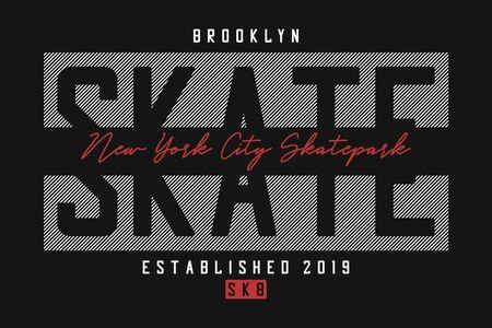 Skateboarding t shirt design. New York skateboard, Brooklyn skate park print for t-shirt with slogan. Skate board apparel print.
