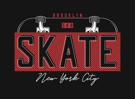 Diseño de camiseta de skate. Camiseta con estampado de skate park New York, Brooklyn con monopatín y eslogan. Estampado de camisetas y prendas de vestir para el tema de la patineta. Ilustración de vector