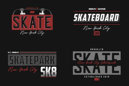Set of skateboard New York t-shirt. Brooklyn skateboarding slogan print for t shirt. Apparel typography graphics for skate board theme.