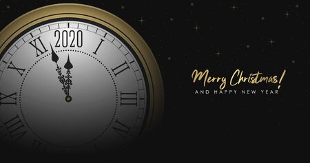 New Year 2020 and Merry Christmas illustration with golden round clock and gold sparkle decorations. Holiday background with blurred clock dial and Roman numerals. Vector. Иллюстрация