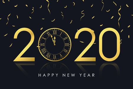 2020 New Year card with gold clock  and golden confetti. New Year illustration for holiday card, poster and banner with watch and decorations. Vector.