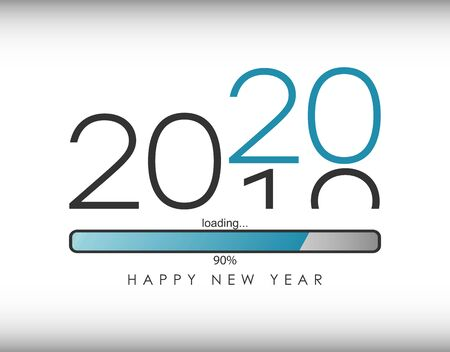 2020 New Year illustration with loading bar and percent load. Waiting for loading of New Year . Vector. Banco de Imagens - 131364059