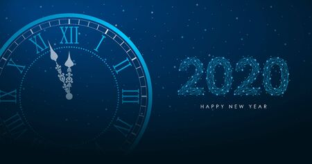 New Year and Merry Christmas illustration with round clock and 2020 number by polygonal wireframe mesh on night sky. Low poly greeting card, holiday banner with watch. Vector.