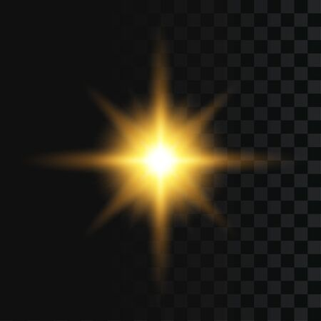 Flash or star burst, light effect on transparent background. Abstract sparkle, golden glowing flash with gold rays and lights. Vector illustration.
