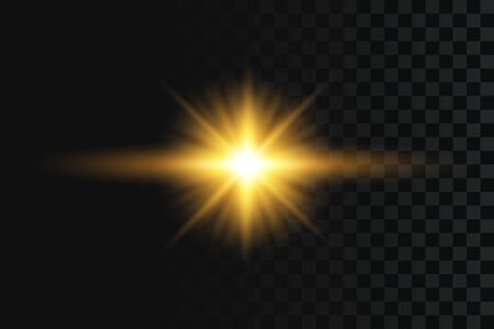 Flash or star light effect on transparent background. Golden glowing flash with gold rays and lights. Vector illustration.