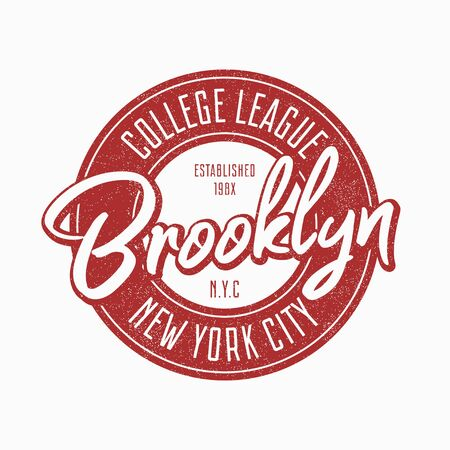 Brooklyn vintage typography for slogan t-shirt. New York city grunge authentic print for t shirt. Graphics badge for retro apparel. Vector illustration.
