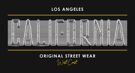 California t-shirt design with slogan from 3d line font. Los Angeles modern typography graphics for t shirt and street wear, apparel with letters of lines. Vector illustration. Illusztráció
