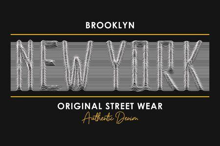 New York t-shirt design with slogan from 3d line font. Brooklyn modern typography graphics for t shirt and street wear, apparel with letters of lines. Vector illustration.