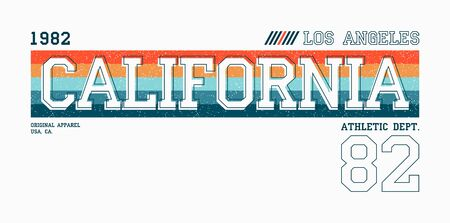 California, Los Angeles athletic typography for t-shirt. Sport apparel print with color stripes. Tee shirt print design. Vector illustration.