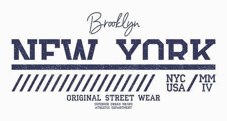 New York athletic t-shirt design. Brooklyn slogan typography for t shirt. Athletic apparel print with grunge. Vector illustration.