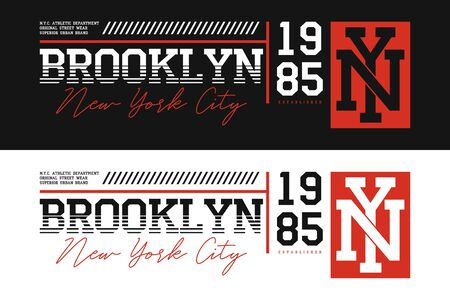 Brooklyn, NYC athletic typography for t-shirt design. Set of New York t shirt print for sportswear. Athletic apparel. Vector illustration.