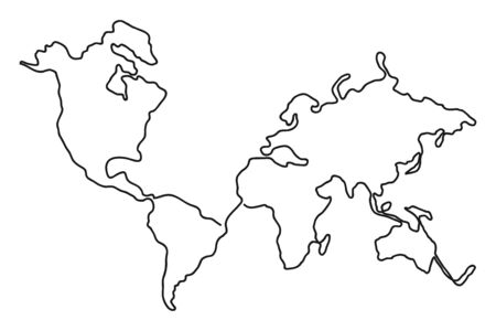 Continuous line drawing of world map. One line map of the Earth. Hand-drawn illustration. Vector.