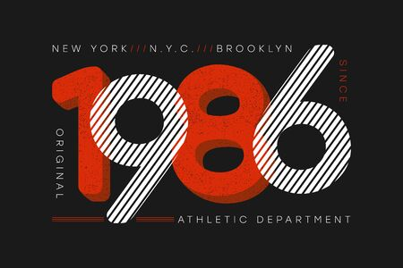 New York city athletic typography for t-shirt. Print for apparel design with number and grunge. Brooklyn t shirt graphics. Vector illustration. Stock Illustratie
