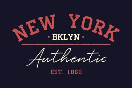 New York authentic typography for t-shirt. Vintage print for t shirt design. Graphics for retro original apparel. Vector illustration.