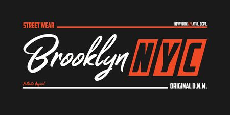 NYC, Brooklyn athletic t-shirt design. New York typography graphics for sport apparel. Vector illustration.