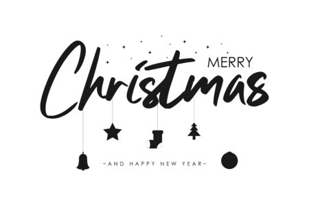 Merry Christmas text banner with star, christmas tree and ball, socks and bell. New Year holidays card. Vector illustration. Stock Illustratie