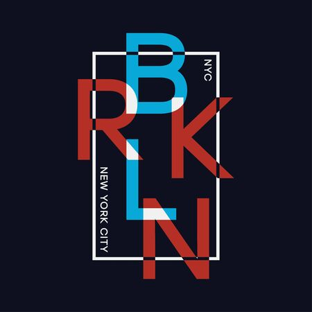 Brooklyn, New York t-shirt design with overlay and overlap effects. Athletic apparel print, typography graphics for tee shirt. Vector illustration. Stock Illustratie