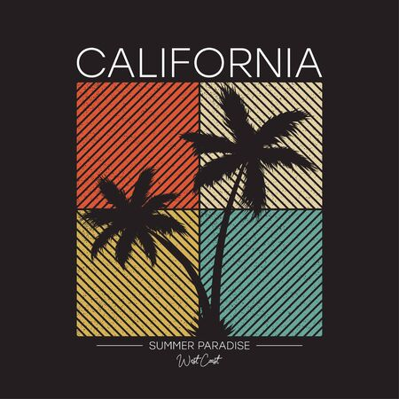 California t-shirt design with silhouette of palm trees. Typography graphics for apparel, tee shirt print with grunge. Vector illustration.