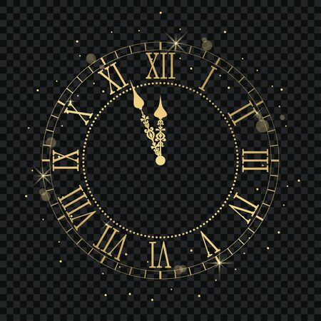 Gold vintage clock with Roman numeral and countdown midnight, eve for New Year. Golden wall clock-face dial at transparent background. Vector illustration. Stock Illustratie