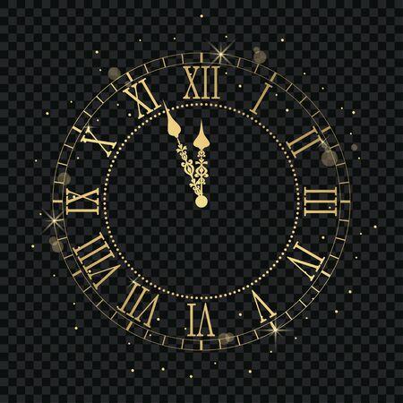Orologio vintage in oro con numeri romani e conto alla rovescia mezzanotte, vigilia per Capodanno. Quadrante dorato da parete a sfondo trasparente. Illustrazione vettoriale.