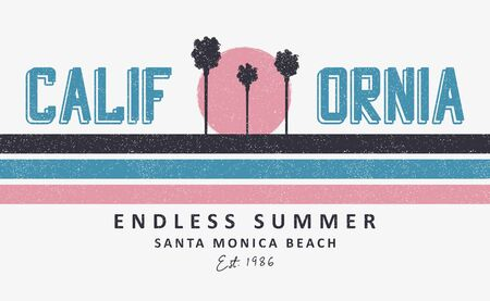 California, Santa Monica t-shirt design with palm trees and sun. Print for apparel design with stripes and grunge. Vector illustration.