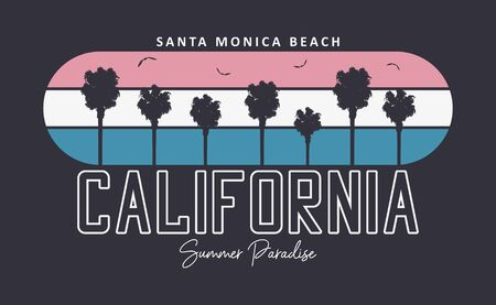 California, Santa Monica beach typography graphics for t-shirt design with palm trees and gulls bird. Print for apparel. Vector illustration.
