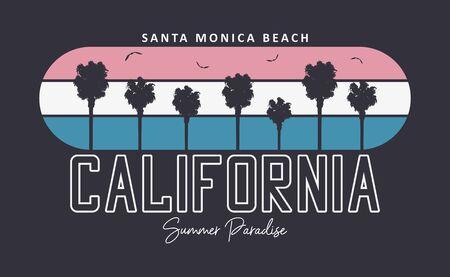 Gráficos de tipografía de playa de California, Santa Mónica para el diseño de camisetas con palmeras y aves gaviotas. Imprimir para ropa. Ilustración vectorial.
