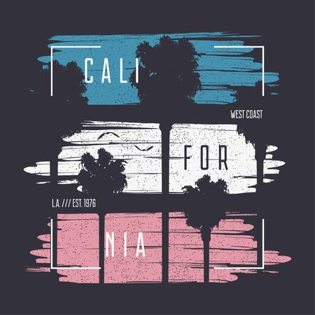 California t-shirt typography graphics with palm trees silhouette and grunge. Print for apparel design. Vector illustration. Vector Illustration