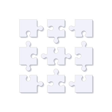 Puzzle pieces. Jigsaw puzzle tile with shadow. Vector illustration.