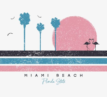 Miami Beach, Florida t-shirt design with flamingo and palm trees. Typography graphics for t shirt with stripes and grunge. Print for apparel. Vector illustration. Stock Illustratie