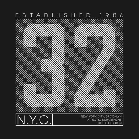 New York number typography graphics for t-shirt design. Athletic print with lines for t shirt, sport apparel. Vector illustration. Stock Illustratie