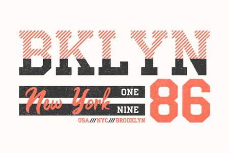 Brooklyn, New York athletic design for t-shirt. Typography graphics for t shirt with slogan Bklyn. Sport apparel print with grunge. Vector illustration. Stock Illustratie