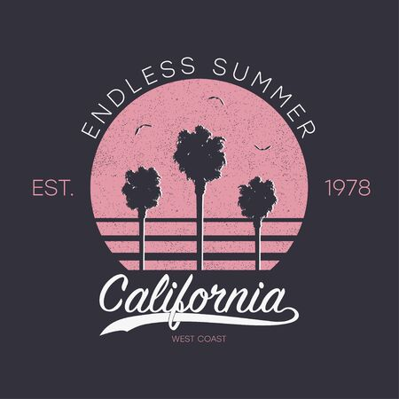 California design for t-shirt with palm trees, sun and gull birds. Typography graphics for apparel print with grunge and slogan - endless summer. Vector illustration.
