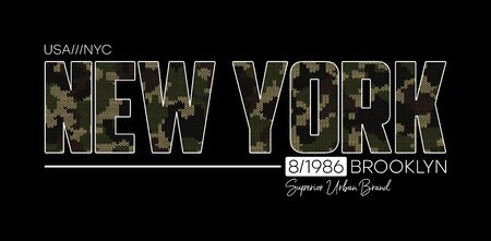 New York t-shirt design with knitted camouflage texture. Typography graphics for Brooklyn tee shirt in military and army style with knit camo. Vector illustration. Stock Illustratie