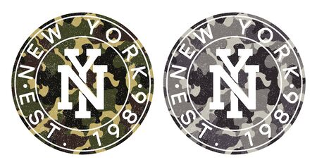 Camouflage texture and New York text for t-shirt design. Typography graphics for tee shirt in military and army style. Print for apparel with camo and grunge. Vector illustration.