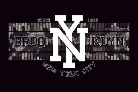 New York, Brooklyn t-shirt design with knitted camouflage texture. Typography graphics for tee shirt in military and army style. Apparel print with knit camo. Vector illustration. Stock Illustratie