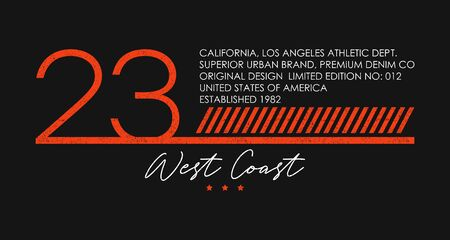 West Coast, California athletic typography for t-shirt design with number 23. Los Angeles apparel with grunge for sportswear. Vector illustration. 일러스트