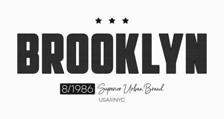 Brooklyn slogan t-shirt design with knitted texture. Typography graphics for New York tee shirt with knit text. Vector illustration.