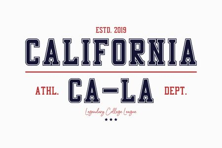 California college typography graphics for t-shirt. Varsity tee shirt, sport apparel print. LA vintage stamp. Vector illustration.