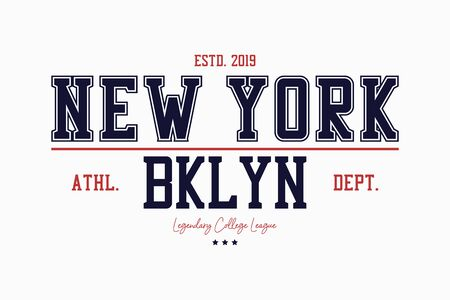 Brooklyn, New York slogan typography graphics for t-shirt. College print for apparel. Varsity athletic tee shirt. Vector illustration.
